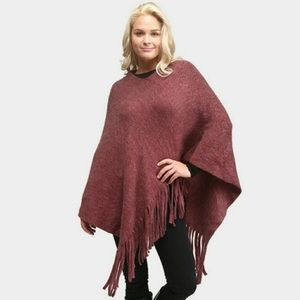 Poncho With Fringe Edging Burgundy Color